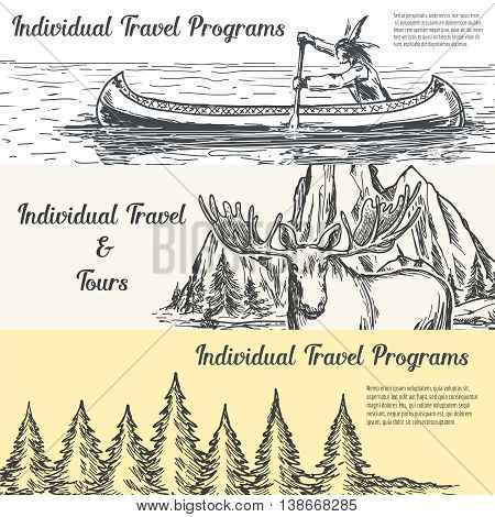 Hand drawn travel banners set vector with nature elk mountains