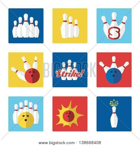 Bowling flat colorful icons set vector with ball and skittle