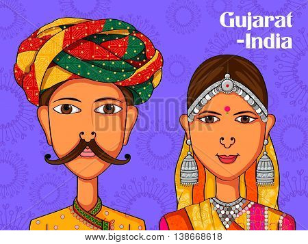 Vector design of Gujarati Couple in traditional costume of Gujarat, India