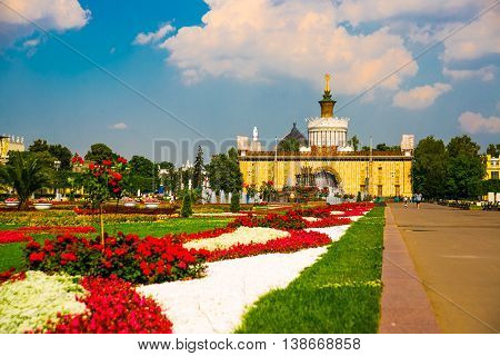 Unusual Pavilion, Beautiful Flowerbeds And Fountains. Enea,vdnh,vvc. Moscow, Russia