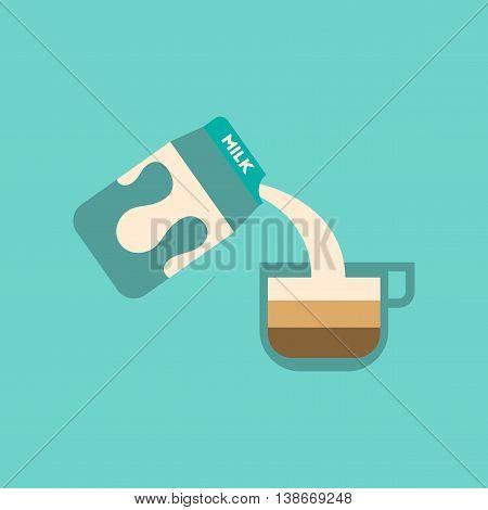 flat icon on stylish background coffee carton milk