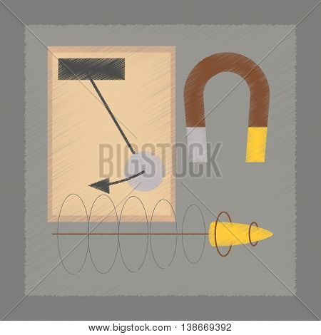 flat shading style icon school Physics lesson magnet