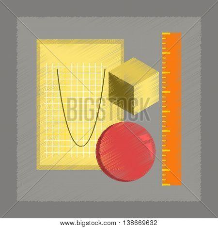 flat shading style icon education geometry lesson