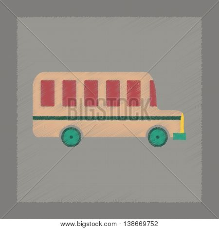 flat shading style icon education school bus