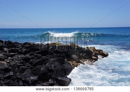 Pristine baby wave forming in Kauai, Hawaii