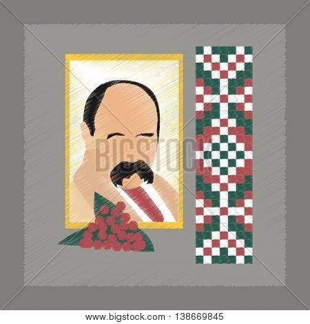 flat shading style icon education Ukrainian portrait embroidery