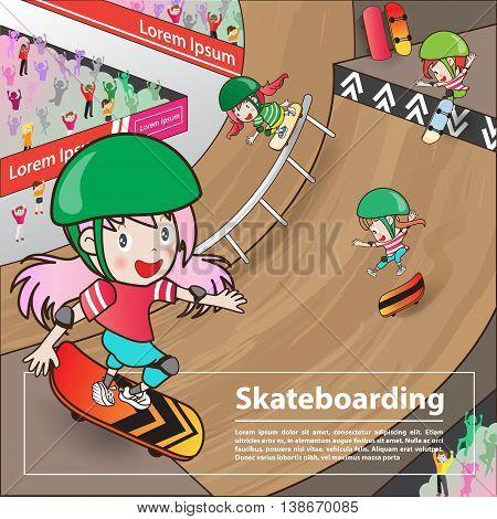 skateboarding sport with girl cartoon character advertising poster (Vector eps10)
