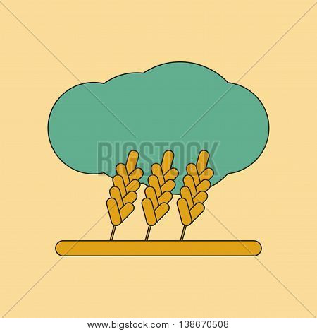 flat icon on stylish background wheat cloud
