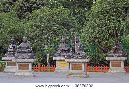 Few Sculptures Of Women In Park, Chengdu