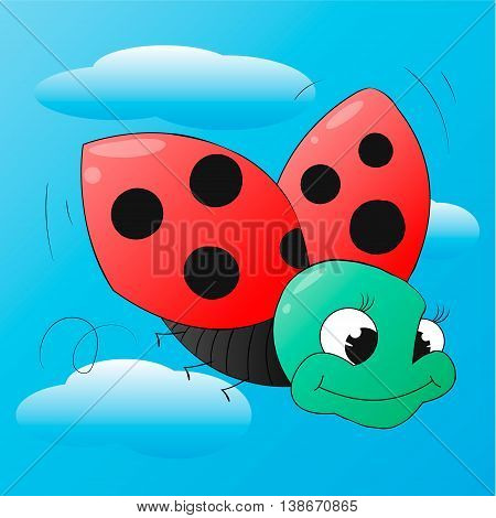 Funny cartoon ladybug isolated on blue for design or logo template. Jpeg version also available in gallery