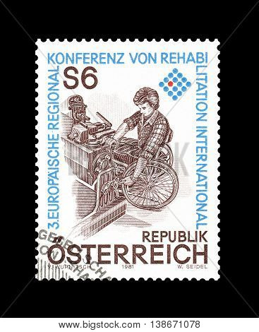 AUSTRIA - CIRCA 1981 : Cancelled postage stamp printed by Austria, that shows Man in wheelchair.