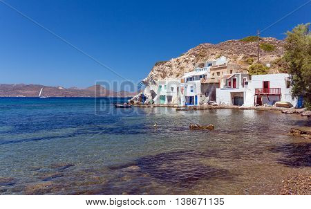 Skinopi settlement in Milos island, Cyclades, Greece