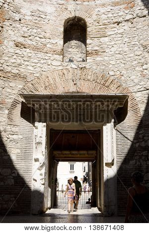 SPLIT, CROATIA - AUGUST 24, 2012: The entrance hall of the Diocletian's residence in Diocletian Palace. Split Croatia. Diocletian's Palace is a building that was built by the Roman emperor Diocletian at the fourth century AD.