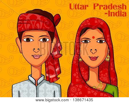 Vector design of UttarpradeshiUttarpradeshi Couple in traditional costume of Uttar Pradesh, India
