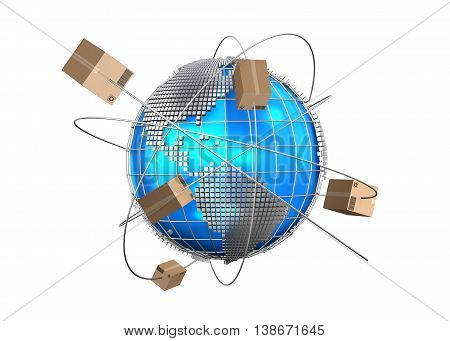 3D illustration Global logistics network cargo shipping import-export commercial logistic Logistic concept.