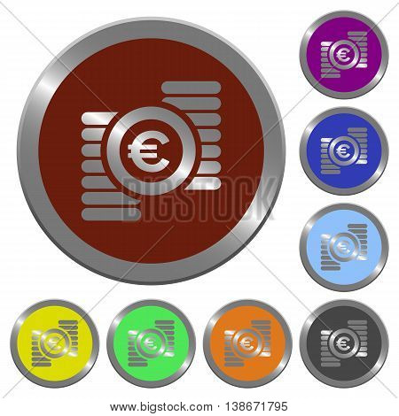 Set of color glossy coin-like euro coins buttons.