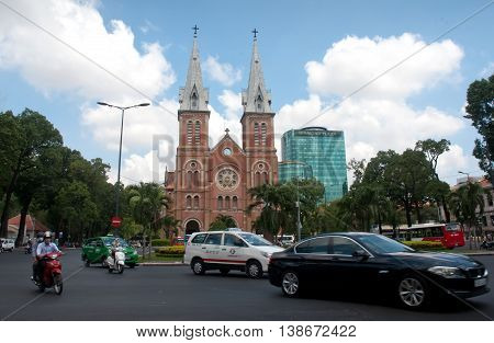 SAI GON, VIET NAM, April 28, 2016 Notre Dame Cathedral, downtown Sai Gon, Vietnam