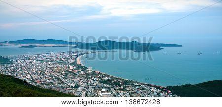 BINH DINH, Vietnam, April 23, 2016 Back coastal city Nhon, Binh Dinh Province, Vietnam, from high