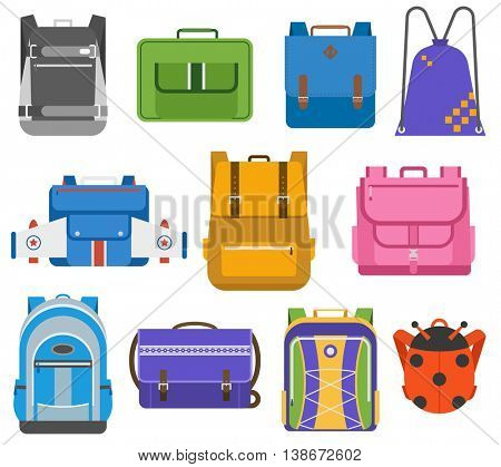 School bags vector set.