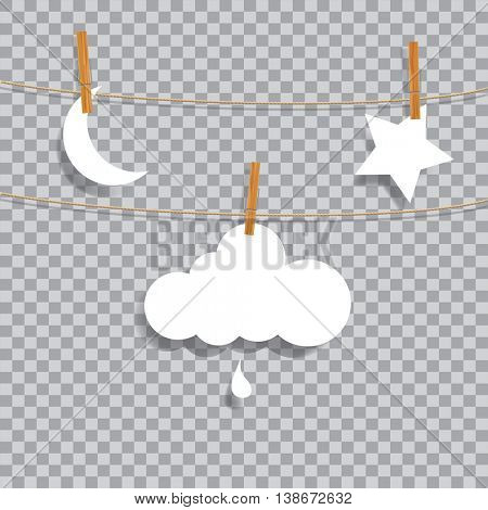 vector original symbolic abstract illustration with moon, cloud with drop and star on rope, transparent shadow, editable and layered