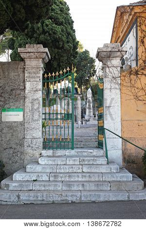NICE FRANCE - JANUARY 18: Cimetiere du Chateau in Nice on JANUARY 18 2012. Entrance to Old Cemetery in Nice France.