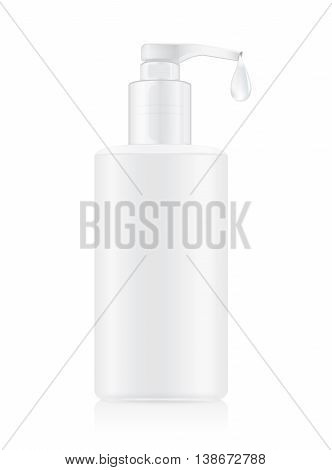 Pump plastic bottles container white color with water drop. Ideal for packaging mock up of facial cleansing toner and oil and water or other.