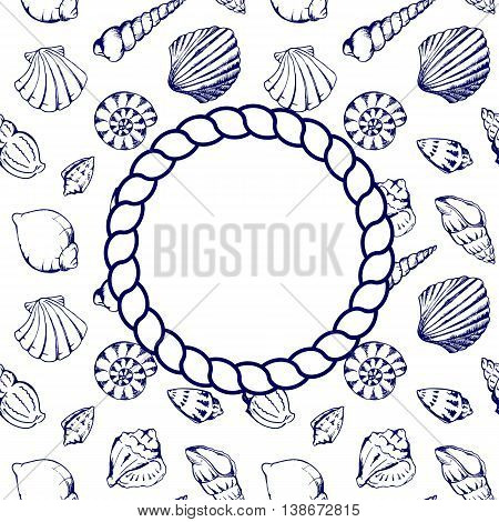 Sea shells navy blue circle rope frame texture background vector