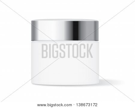 White cream jar with silver lid isolated on white background, Ideal for mock up packaging.