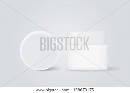 Opaque cream jar with white cap for beauty product mock up design in front view and top view.