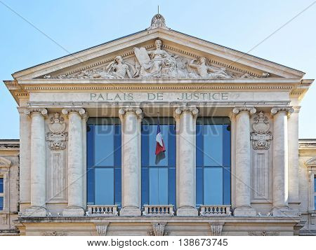 NICE FRANCE - JANUARY 17: Palace de Justice in Nice on JANUARY 17 2012. Courthouse Government Institution Building in Nice France.