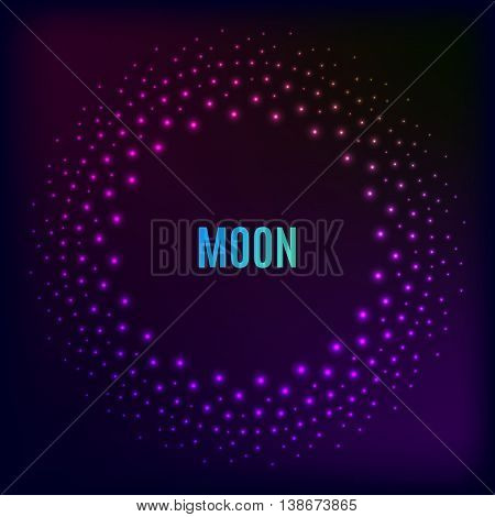 Glowing Halftone dots in a circle on a dark background. Vector abstract dark background. Illustration of modern internet technologies communication connection. Disco flyer. 80 90th
