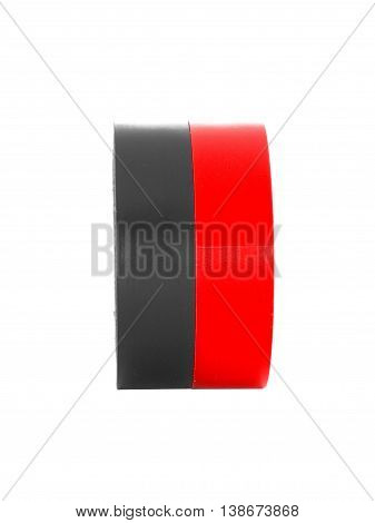 Repairing black, red insulating tape coils, isolated on white background