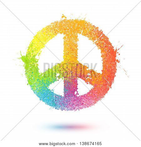 Rainbow sprayed effect paint splashes vector pacific symbol