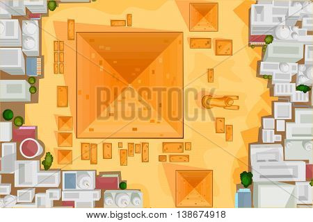 Vector design of birds eye view of The Great Pyramid of Giza