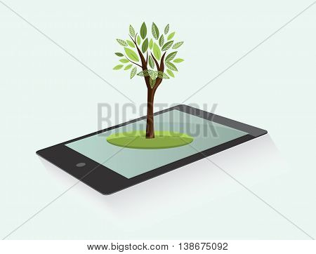 Ecological vector design element with tablet and green tree. Environmental conservation concept.
