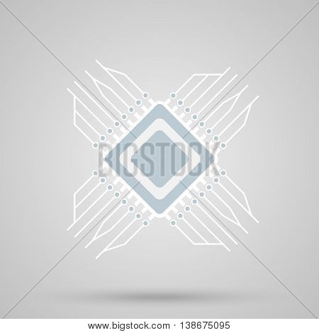 CPU icon, square shape with contacts and shadow, IT concept