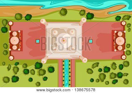 Vector design of birds eye view of Taj Mahal