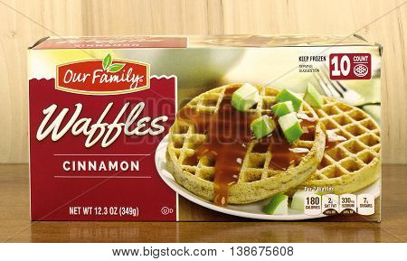 RIVER FALLS,WISCONSIN-JULY 16,2016: A carton of Our Family brand cinnamon flavored waffles.