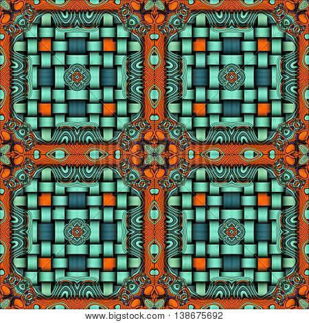 Abstract decorative multicolor (orange, blue) texture - kaleidoscope striped 3D pattern