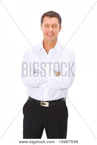 Isolated portrait of a senior executive businessman. Cheerful and in a suit