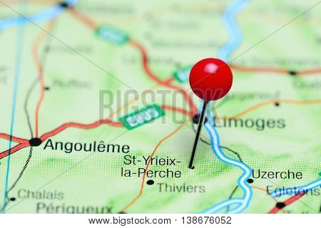 St-Yrieix-la-Perche pinned on a map of France