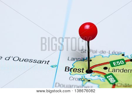 Brest pinned on a map of France