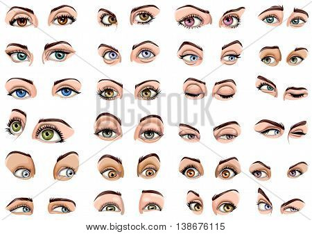 Vector design of set of female eyes showing different expressions