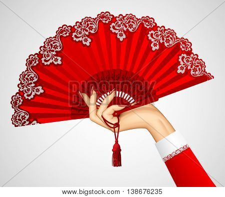 Female hand with open vintage red fan isolated on white. Vector illustration
