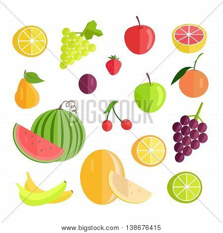 Set of fruits vectors. Flat design. Lemon grape, watermelon cherry, plum, apple, grapefruit melon, banana strawberry pear, orange illustrations for conceptual banners, icons infographics.
