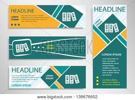 Binders On Horizontal And Vertical Discount Banner, Header