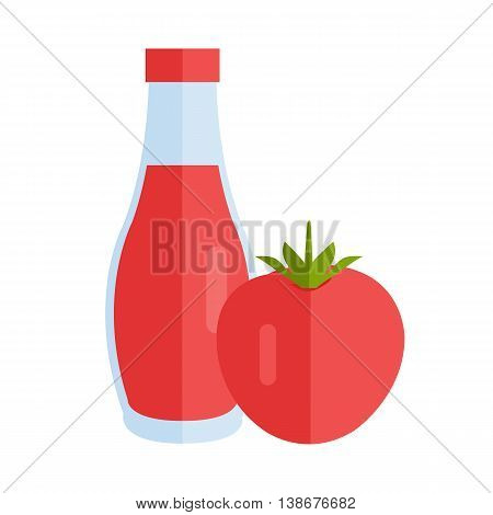 Bottle with sauce vector. Flat design. Small jar filled ketchup, tomato paste. Cooking base product concept. Illustration for icon, label, print, menu design, infographics. Isolated on white.