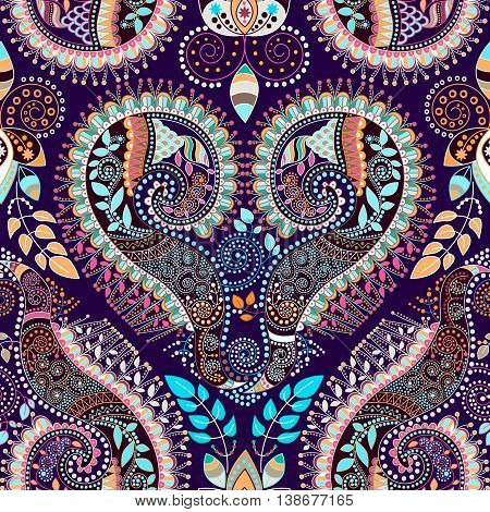 Colorful decorative pattern. Ethnic background. Ornament Paisley