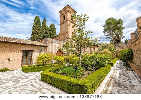 The gardens of Alhambra in Granada, Unesco Heritage in Andalusia, Spain.