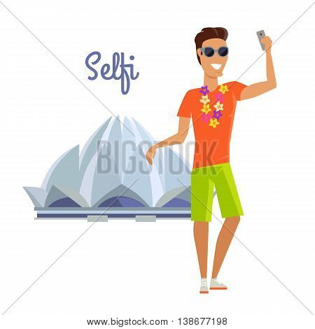 Summer vacation in India concept. Journey in exotic countries vector illustration. Selfie on the background of famous historical monuments. Young man taking pictume near Lotus temple. Flat Design.